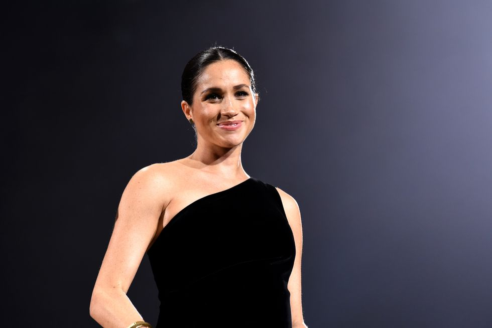 Meghan Markle Makes a Surprise Appearance in a One-Shouldered Black Gown at the British Fashion Awards