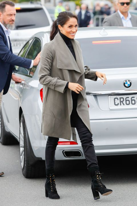 665014f91cf8a ... Muck Boot Company Reign Boots, $160. 4 October 29: The Taupe Waterfall  Coat Sitch. The Duke And Duchess Of Sussex Visit New Zealand - Day 2