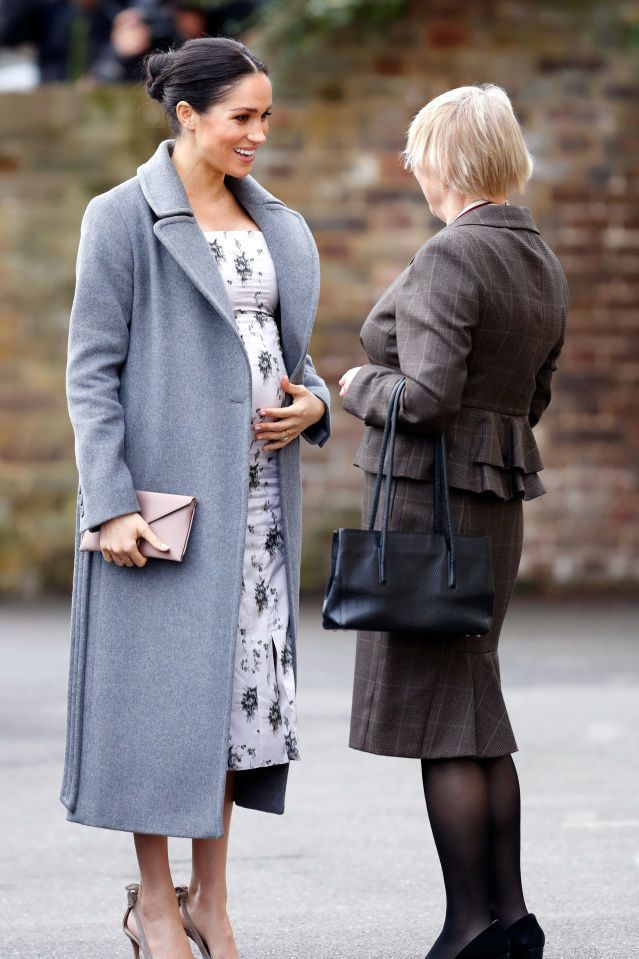 The Duchess visited Brinsworth House, the Royal Variety Charity's residential nursing and care home in Twickenham, West London, wearing a floral dress by Brock Collection with a gray coat from Soia and Kyo , and a nude clutch and heels. SHOP NOW Floral-Printed Midi Dress by Brock Collection, $1,480