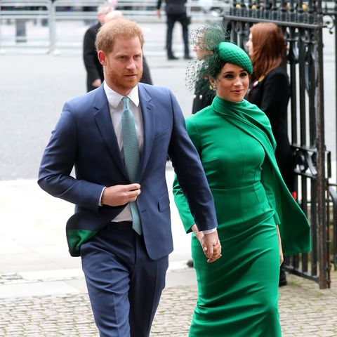 harry meghan when will they next be at a royal event pictures fromCommonwealth Day Service 2020 green hat and dressoutfit Emilia Wickstead