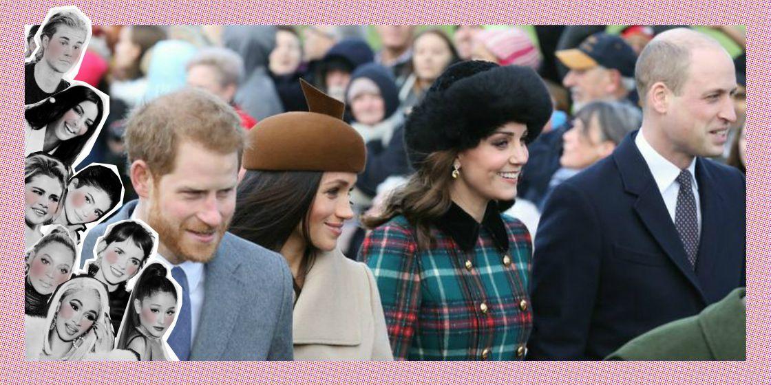 Kate Middleton, Meghan Markle, Prins William en Prins Harry