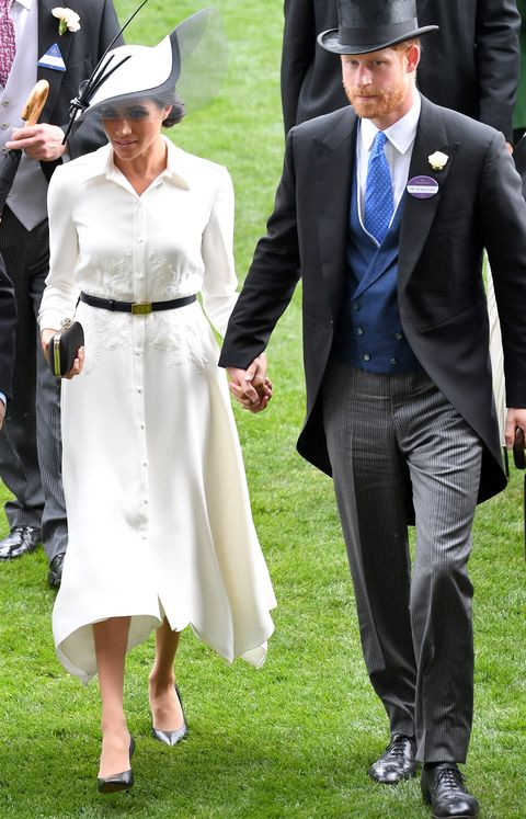 meghan markle in white midi dress and hat