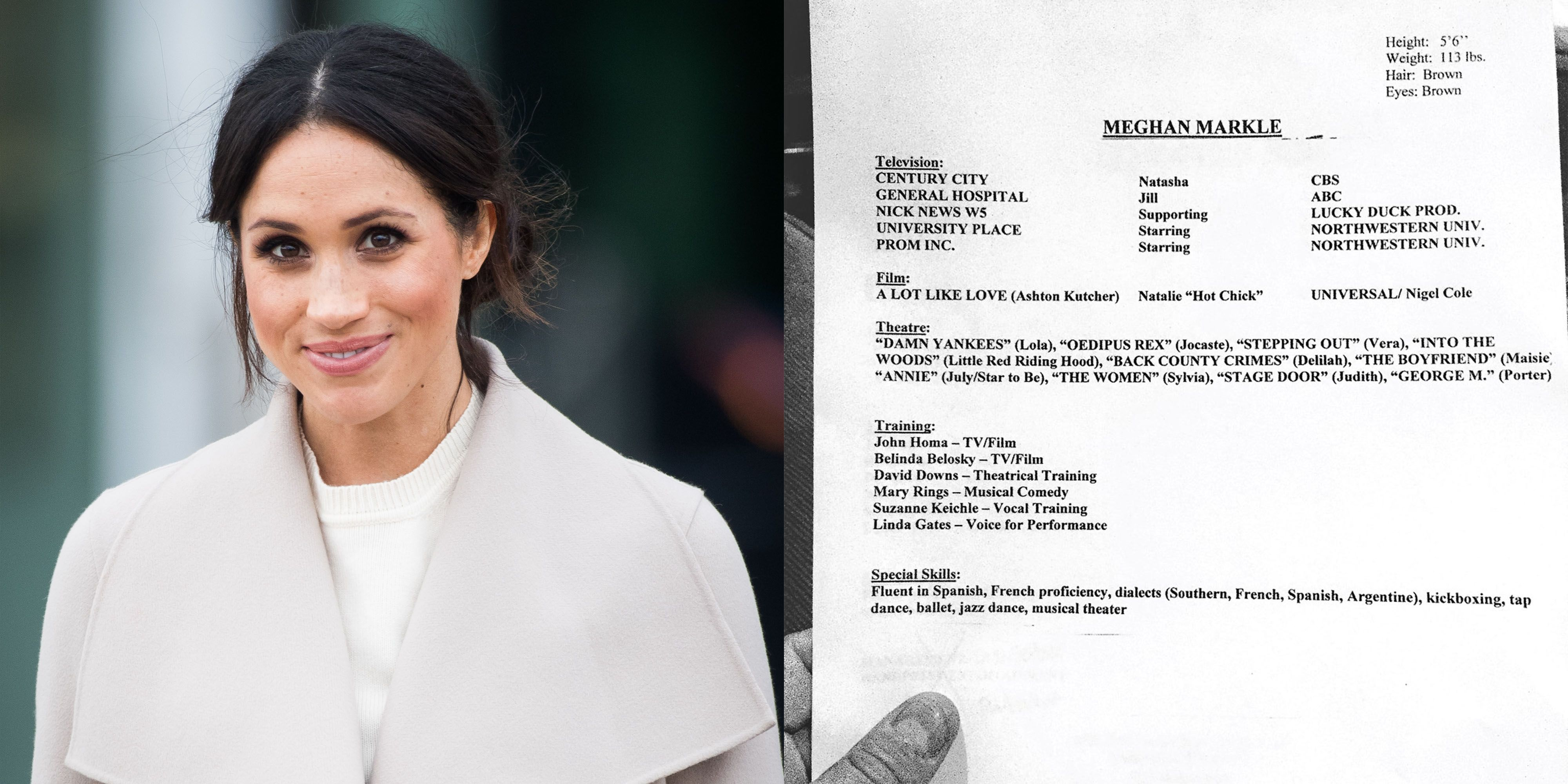 Meghan Markle S Old Acting Resume And Headshot Reveal Her Height