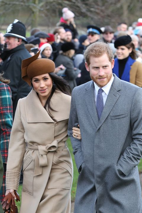 meghan markle and prince harry at sandringham christmas in 2017