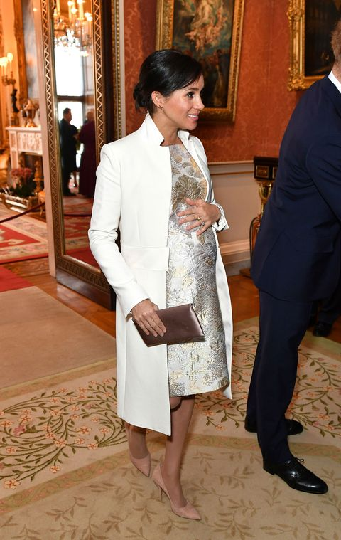 Meghan Markle Looks Gorgeous in a Brocade Dress at Prince Charles's Investiture's 50th Anniversary Reception