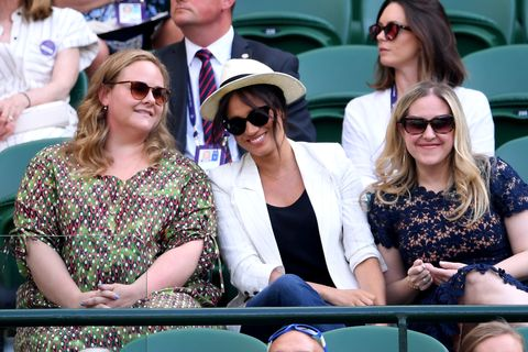 who are meghan markle's best friends lindsay roth and genevieve hillis, pictured here with her at wimbledon 2019