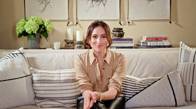 meghan markle sitting in her home home during a video message