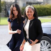 berkshire, england   may 18  meghan markle and her mother, doria ragland arrive at cliveden house hotel on the national trust's cliveden estate to spend the night before her wedding to prince harry on may 18, 2018 in berkshire, england  photo by steve parsons   pool  getty images