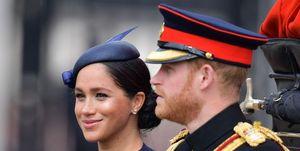 Meghan Markle en Prins Harry tijdens Trooping the Colour 2019
