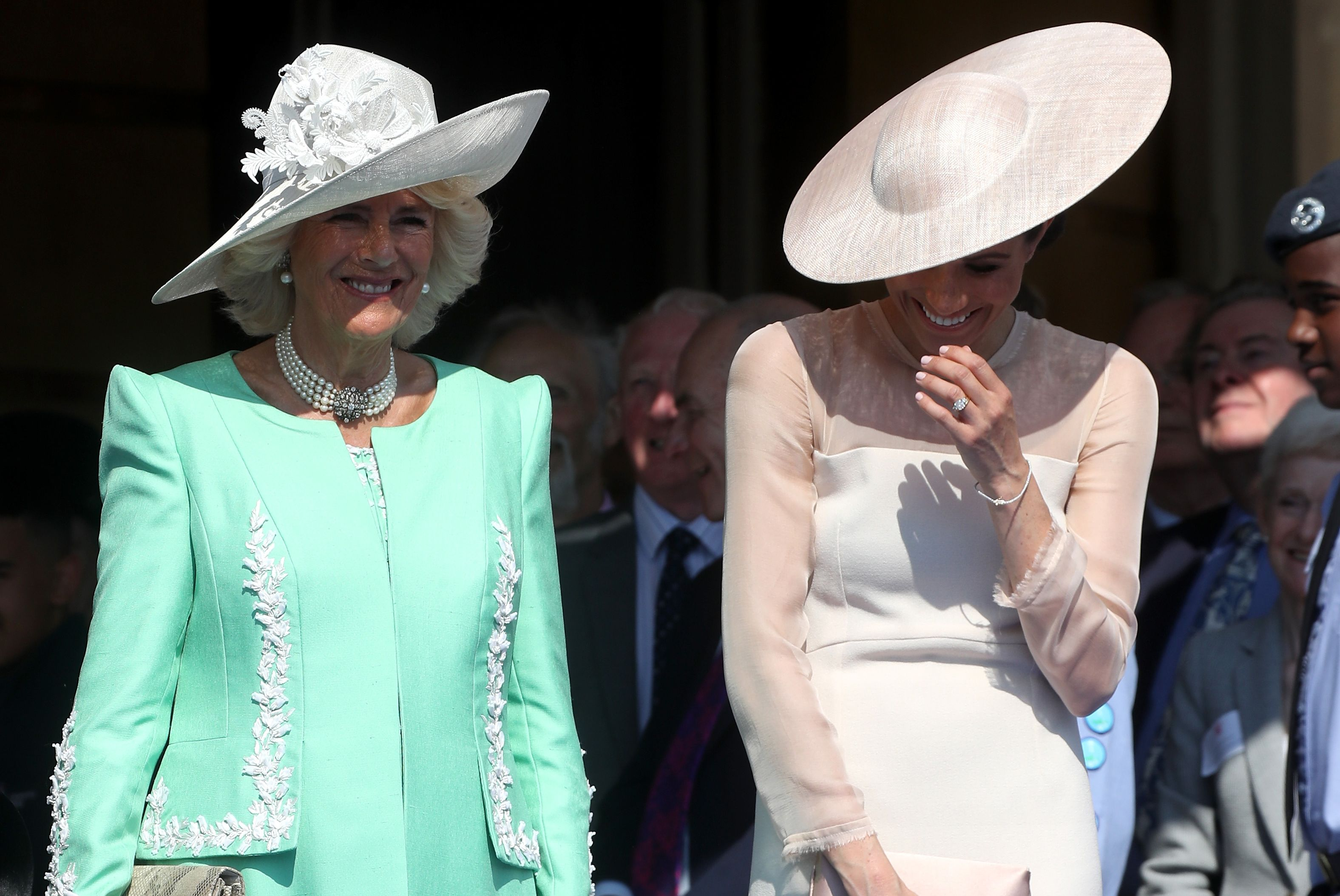 The Duchesses of Sussex and Cornwall couldn't keep it together.