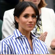london, england   july 14  meghan, duchess of sussex attends day twelve of the wimbledon lawn tennis championships at all england lawn tennis and croquet club on july 14, 2018 in london, england  photo by clive masongetty images