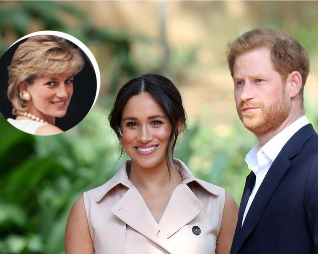 un montaje de lady di, meghan markle y el príncipe harry