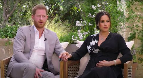 prince harry and meghan markle during interview with oprah winfrey