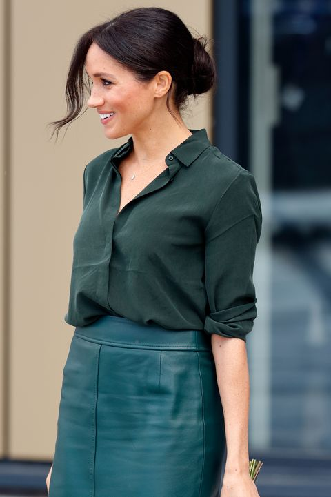 bognor regis, united kingdom   october 03 embargoed for publication in uk newspapers until 24 hours after create date and time meghan, duchess of sussex departs after visiting the university of chichesters engineering and technology park on october 3, 2018 in bognor regis, england the duke and duchess married on may 19th 2018 in windsor and were conferred the duke  duchess of sussex by the queen photo by max mumbyindigogetty images