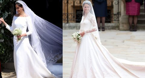 How Meghan Markle\'s royal wedding dress compared to Kate Middleton\'s