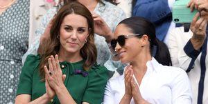 Meghan Markle en Kate Middleton bij Wimbledon 2019