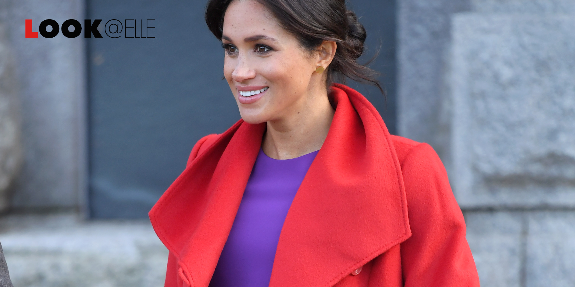 meghan markle look cappotto rosso2019