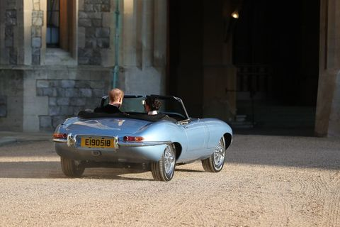 Prince Harry and Maghan Markle drive to their wedding reception.