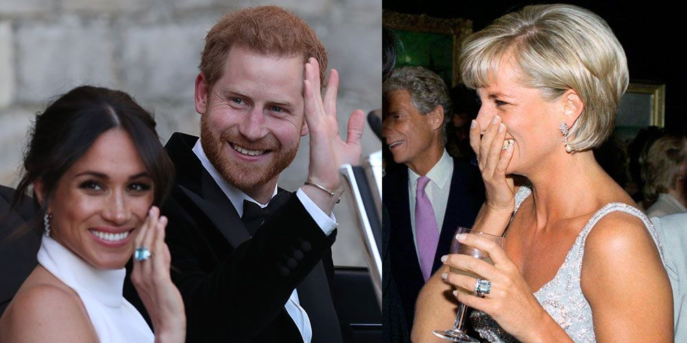 meghan markle wore princess diana s ring to her wedding reception after being gifted it by prince harry meghan markle wore princess diana s