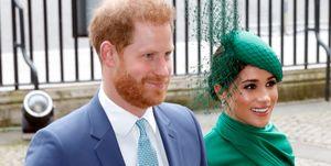 Meghan Markle en prins Harry tijdens de Commonwealth Day Service in Westminster Abbey.