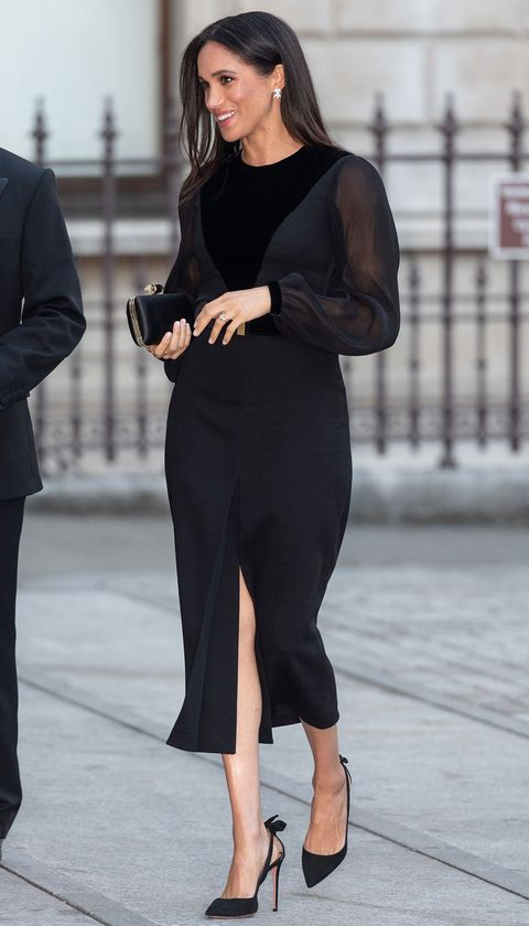 414793fd8787a Meghan Markle in Givenchy dress - Royal Academy Oceania Exhibition preview  - Duchess of Sussex