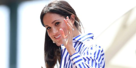 23aac8a1b Meghan Markle Wears Striped Shirt, White Pants to Watch Serena Williams at  Wimbledon 2018