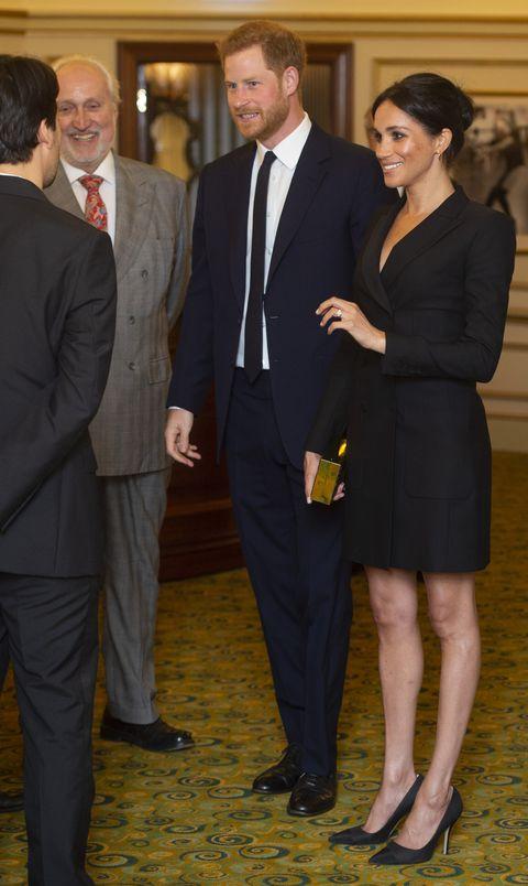 Meghan Markle Wears Black Tuxedo Dress To Hamilton Performance