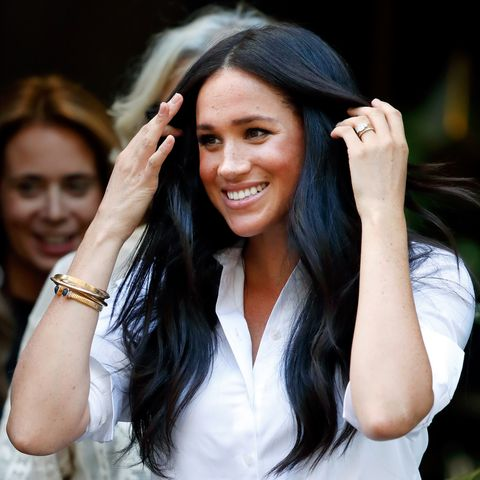 A picture of Meghan Markle, Duchess of Sussex, with soft waves in her hair (styled by George Northwood)