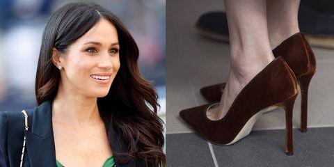 Footwear, High heels, Shoe, Leg, Brown, Court shoe, Human leg, Ankle, Fashion model, Brown hair,