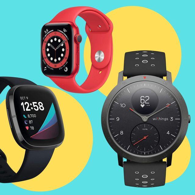 imágenes de distintos modelos de relojes inteligentes de samsung, apple, withings y fitbit