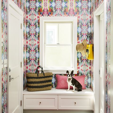 Room, Pink, Interior design, Wallpaper, Furniture, Property, Wall, House, Floor, Ceiling,