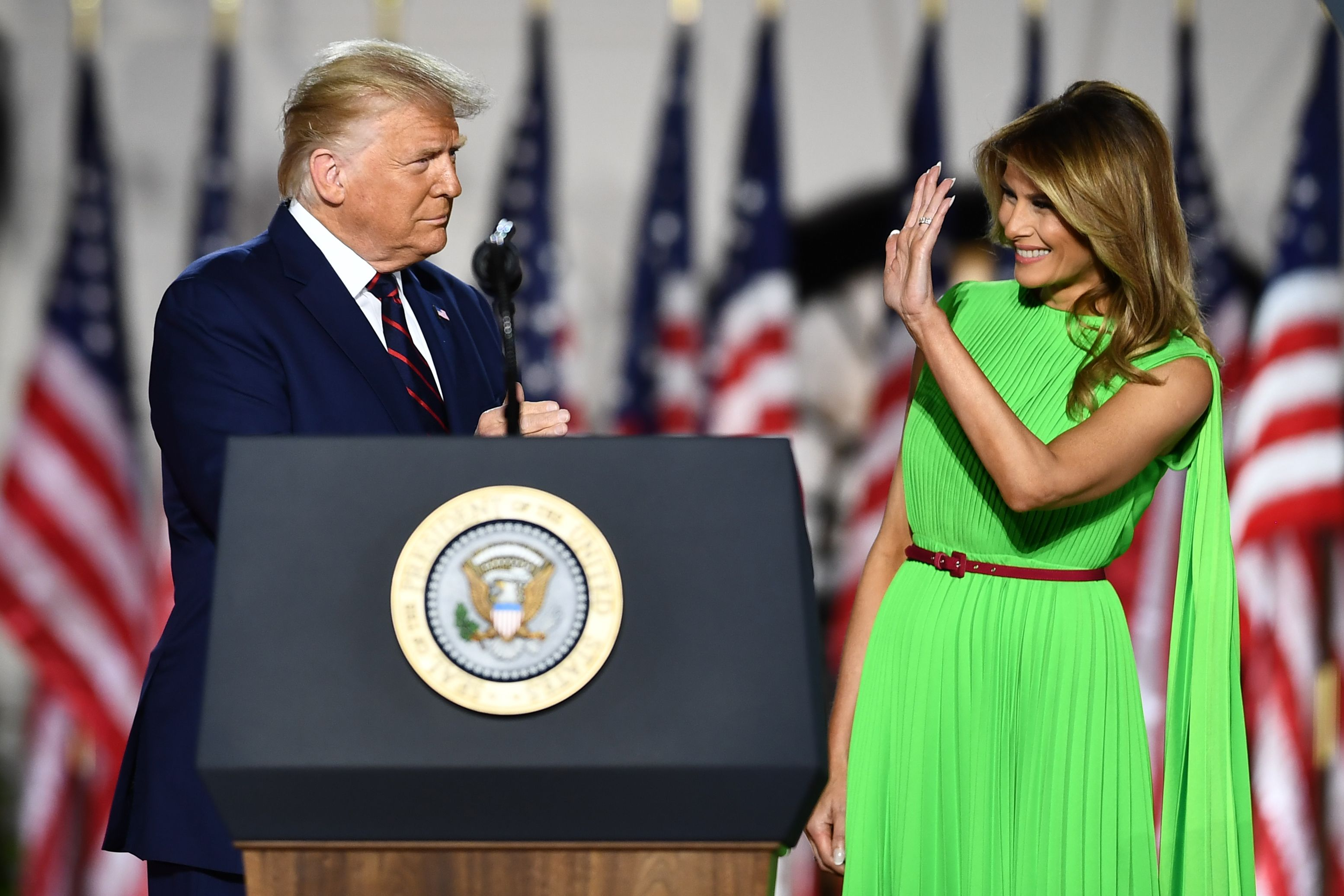 Melania Trump's green screen dress goes viral | Valentino gown