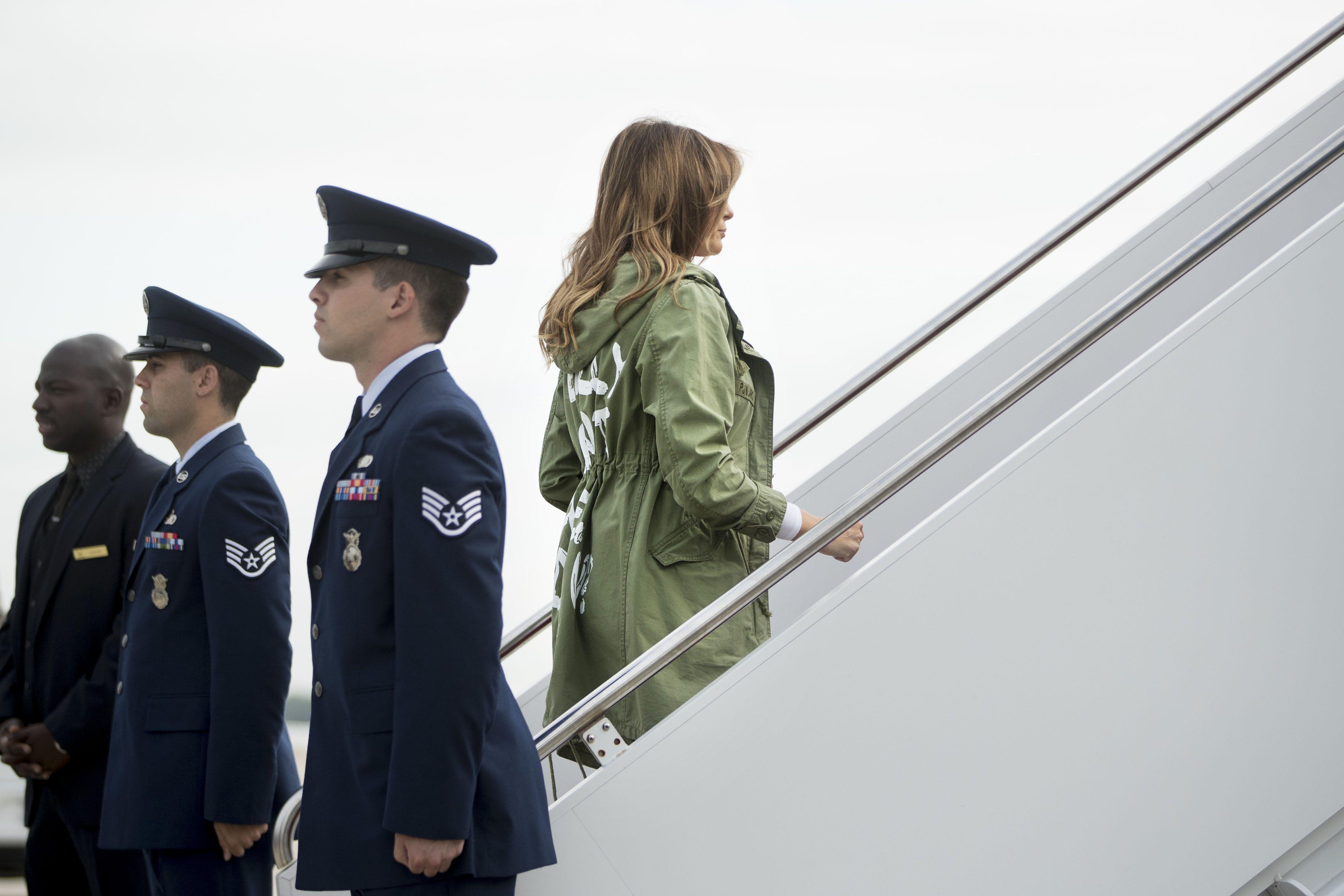 Melania boarding her plane in the Zara jacket.