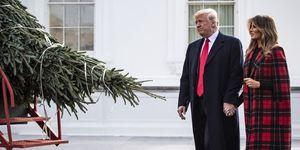 Donald Trump en Melania Trump bij een kerstboom