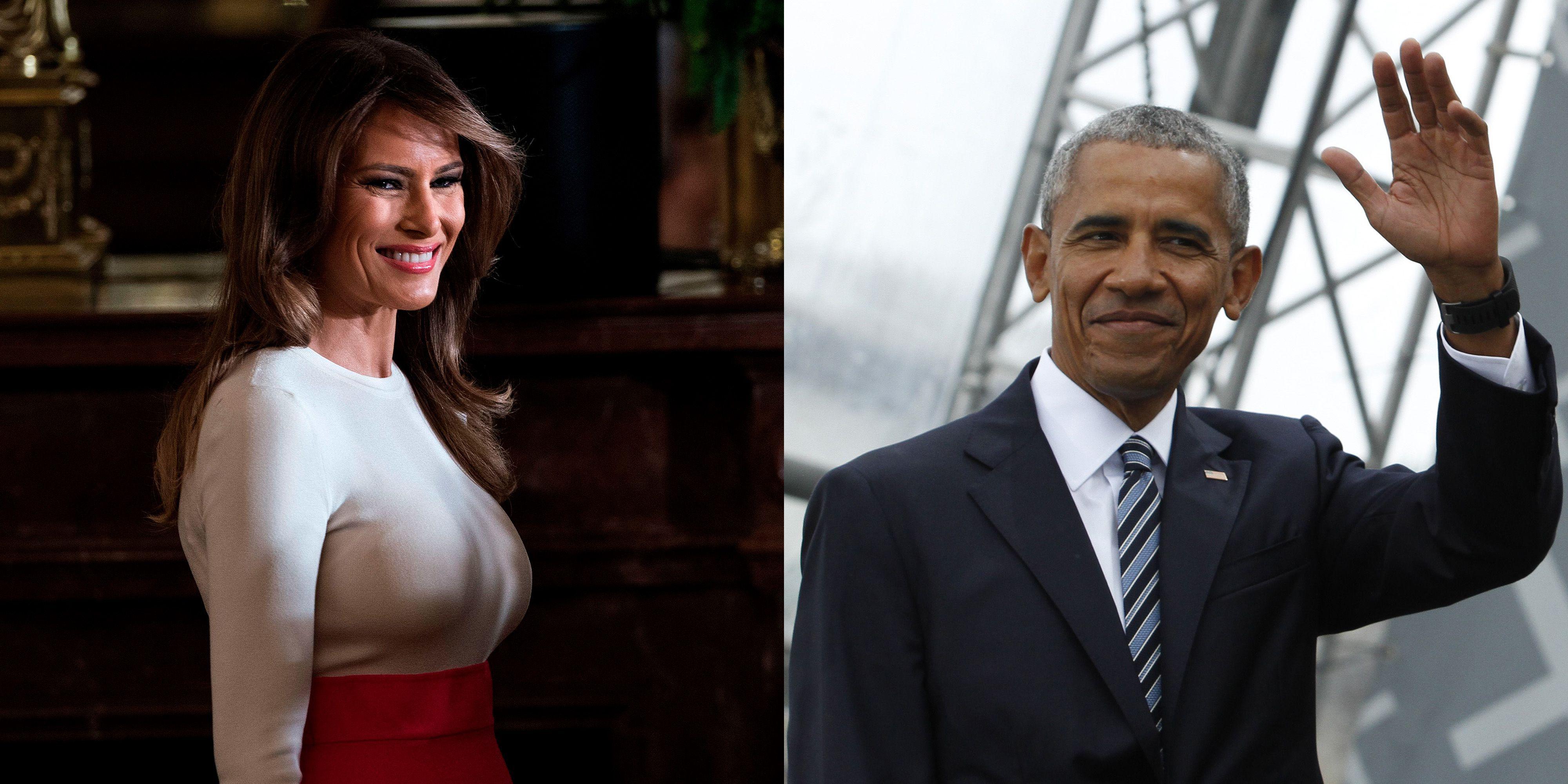 Melania Trump, Barack Obama, foto viral, lachen, begrafenis
