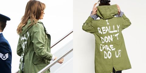 Image result for melania trump wears an 'i really don't care' jacket to visit migrant