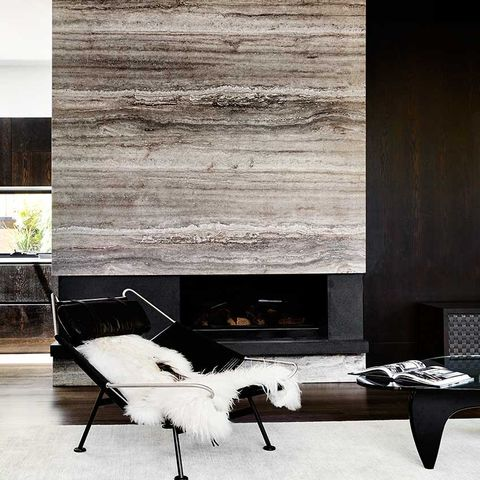 Fireplace with marble chimney