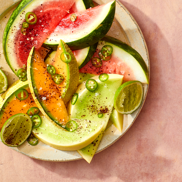 melon wedges with sumac, lime, and chiles