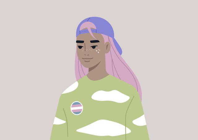 a member of the lgbtq community wearing a transgender pin, lgbt pride theme