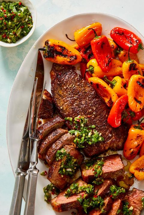 grilled steak and peppers with herb chimichurri sauce