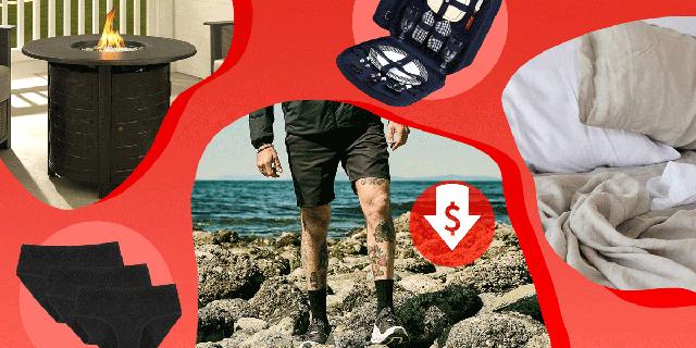 fire pit, picnic bakpack, linen sheets, man walking by ocean in shorts, thinx period underwear