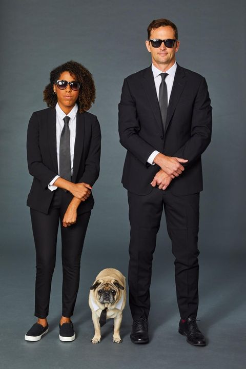men in black dog owner halloween costume