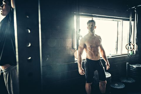 Men training in gym