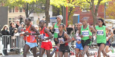 The men's lead pack along First Avenue at the 2011 New York Ciy Marathon