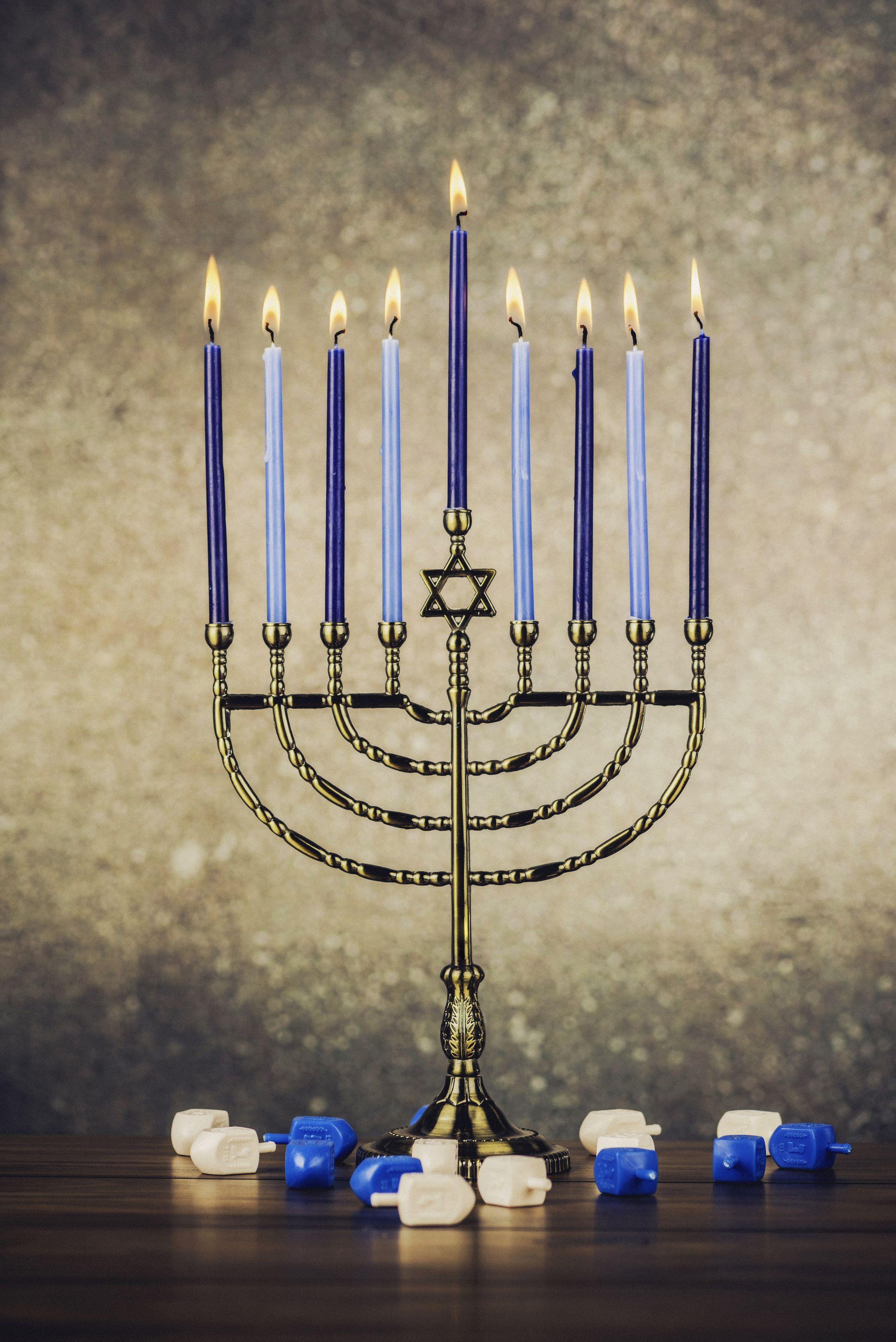 Menorah with Burning Candles for Hanukkah