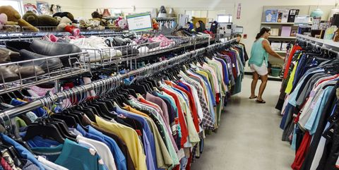 Men's clothing for sale inside Goodwill Industries.