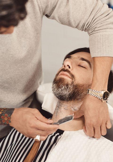 Facial hair, Beard, Hair, Moustache, Hand, Barber, Smile, Gesture,
