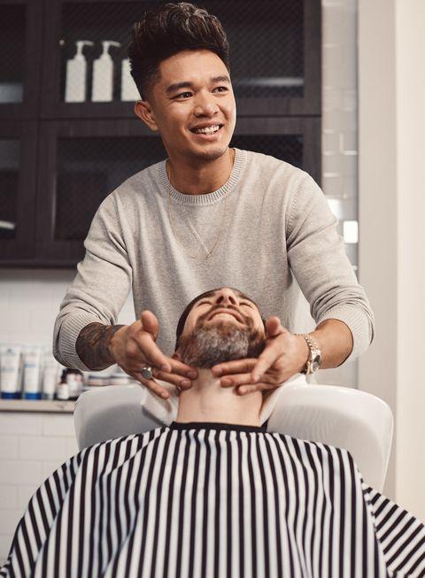 Hair, Sitting, Head, Shoulder, Forehead, Hand, Neck, Ear, Hairdresser, Facial hair,