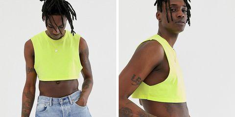 Clothing, Shoulder, Yellow, Arm, Muscle, Abdomen, Undergarment, T-shirt, Sleeveless shirt, Shirt,
