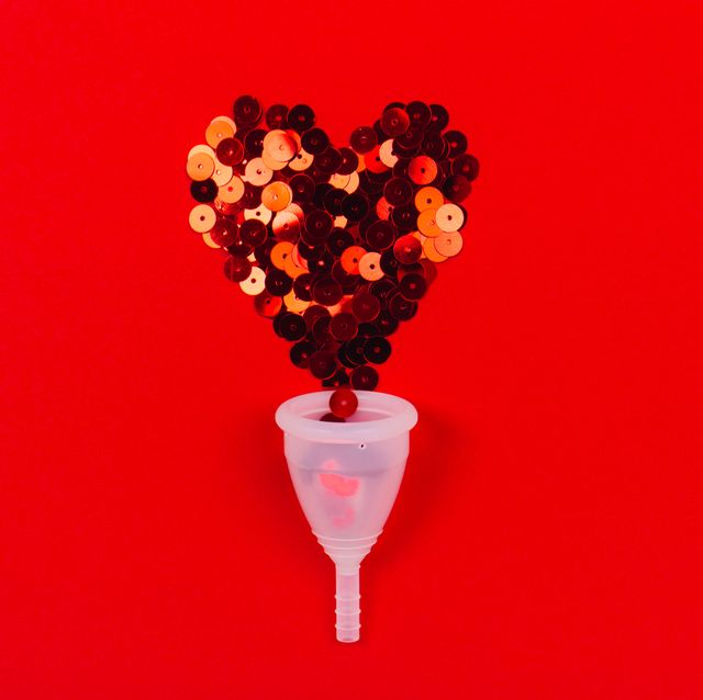 menstrual cup with red sparklin heart